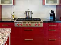 Red High Gloss Laminate Kitchen Cabinetry